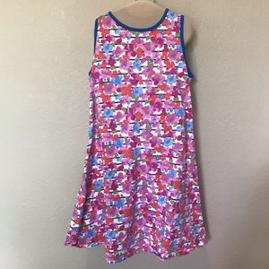 Lands' End pink floral cotton sun dress 10-12